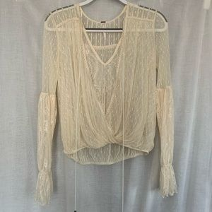 Free People Lace Long Sleeve Blouse with front tie